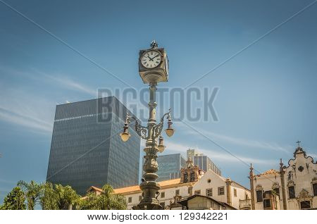 Rio De Janeiro, Brasil - March 06, 2016:  Architetural Details Building Streets Of Downtown At Cario