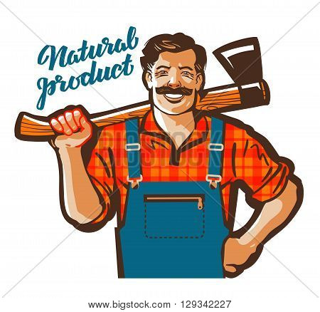 funny cartoon carpenter or lumberjack. vector illustration