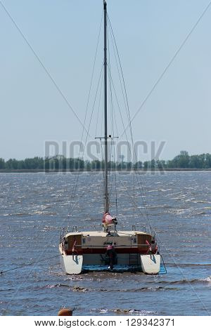 Catamaran is situated on the Elbe at anchor