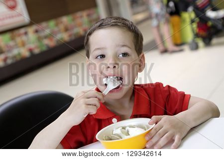 Boy eating meat dumplings with sour cream in cafe