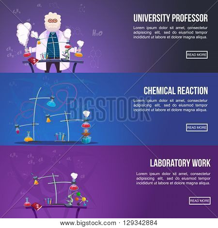 Chemistry Lab Colored horizontal Banner Set with titles university professor chemical reaction and laboratory work vector illustration