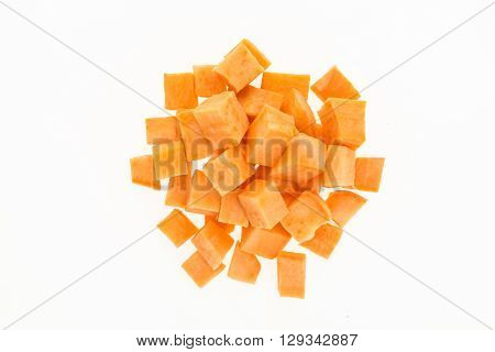 Fresh Sweet Potato Cut Into Cubes , Isolated On White Background