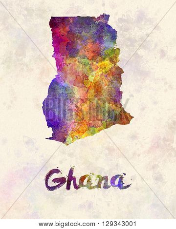 Ghana map in artistic and abstract watercolor