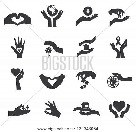 Flat icon isolated set with black silhouettes of hands in different careful gestures vector illustration