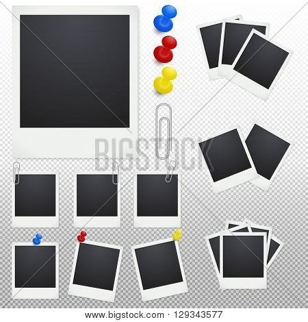 Set of polaroid photo frames with clips and thumbtacks on a transparent background. Photo frame icon vector, isolated vector photo frame, photo frame image, photo frame template, photo frame design.Vector EPS10 illustration.