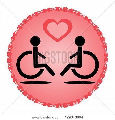 Schematic disabled loving couple in a wheelchair on a pink background with ornate frame and pink heart. Isolated icon.