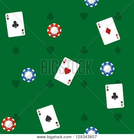 Casino seamless pattern with playing cards red and blue chips on green background vector illustration