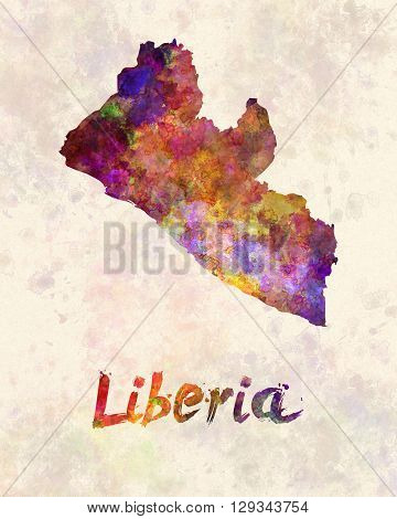 Liberia map in artistic and abstract watercolor