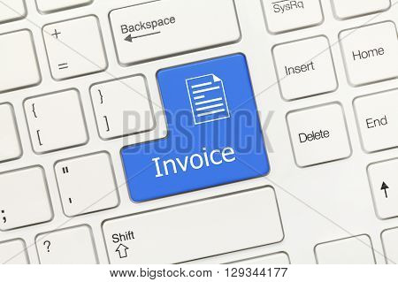 White Conceptual Keyboard - Invoice (blue Key)
