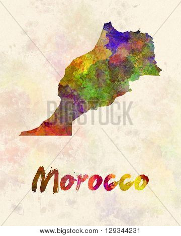 Morocco map in artistic and abstract watercolor