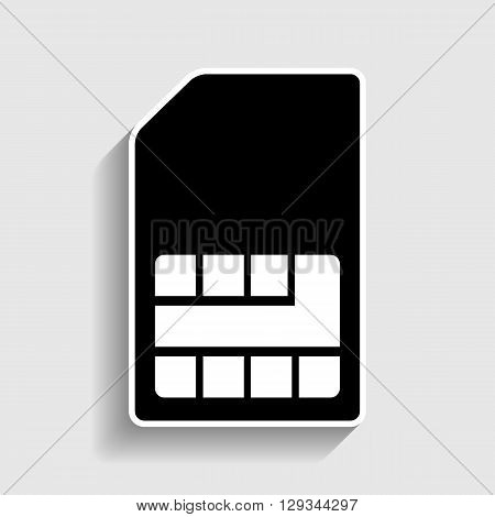 Sim card sign. Sticker style icon with shadow on gray.