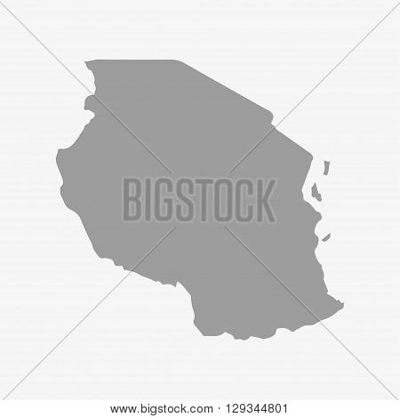 Map of Tanzania in gray on a white background