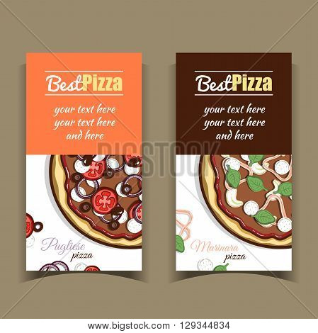 Set of vertical banners with hand drawn pizza. Vector illustration.
