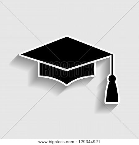 Mortar Board or Graduation Cap, Education symbol. Sticker style icon with shadow on gray.