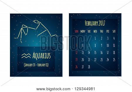 Vector calendar for February 2017 in the space style. Calendar with the image of the Aquarius constellation in the night starry sky. Elements for creative design ideas of your calendar
