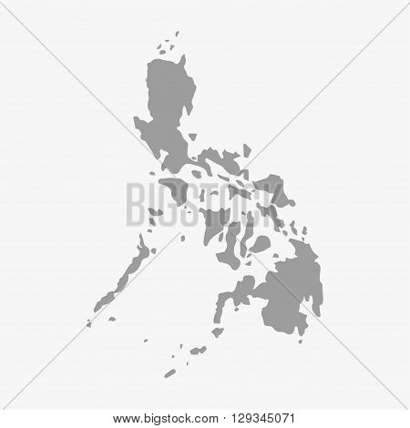 Philippines map in gray on a white background