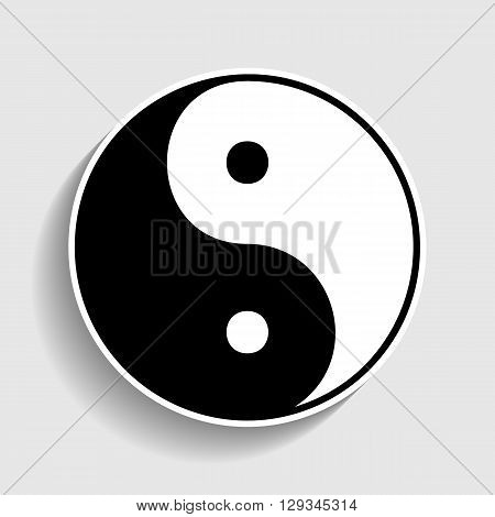 Ying yang symbol of harmony and balance. Sticker style icon with shadow on gray.