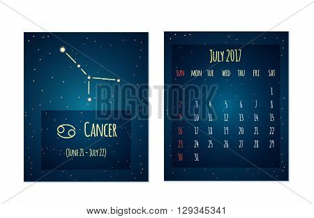 Vector calendar for July 2017 in the space style. Calendar with the image of the Cancer constellation in the night starry sky. Elements for creative design ideas of your calendar