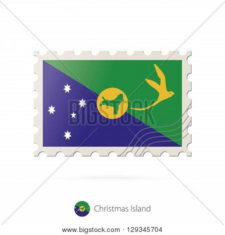 Postage Stamp With The Image Of Christmas Island Flag.