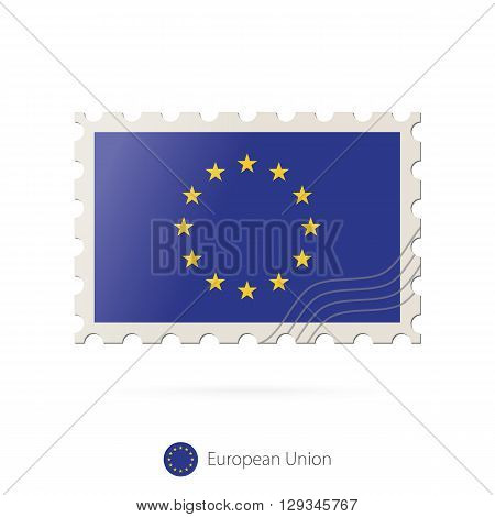 Postage Stamp With The Image Of European Union Flag.