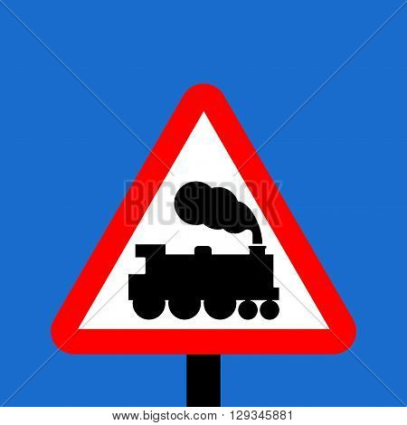 Warning triangle Level crossing without barrier or gate ahead