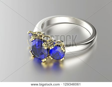 3D illustration of gold Ring with Sapphire. Jewelry background. Fashion accessory