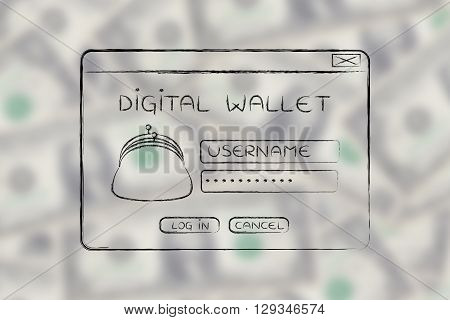 Pop-up Digital Wallet With Coin Purse And Login
