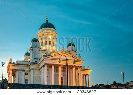 Senate Square With Lutheran Helsinki Cathedral At Summer Evening Night. Famous Landmark In Finnish Capital. Finland