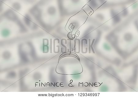 Hand Dropping Coin Into Purse, Finance & Money