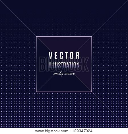 Geometric frame with light effects, Halftone square light background, place for text.  Vector party flyer, design template, card, banner or poster. Dark smoky purple, mauve color palette