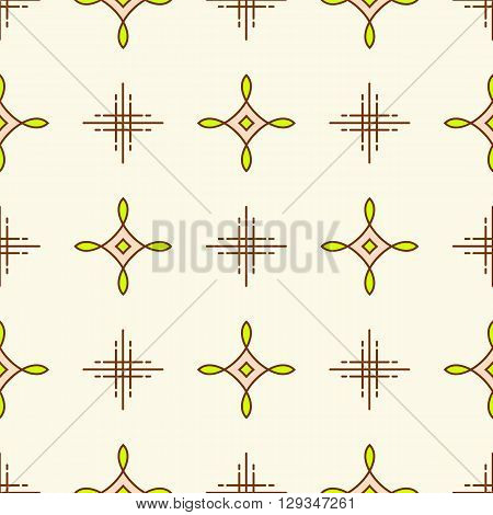 Thin line seamless pattern. Abstract geometric ornament. Gentle textile pattern on a white background. Decorative vector design texture, minimal background. Pastel brown and green neon color palette