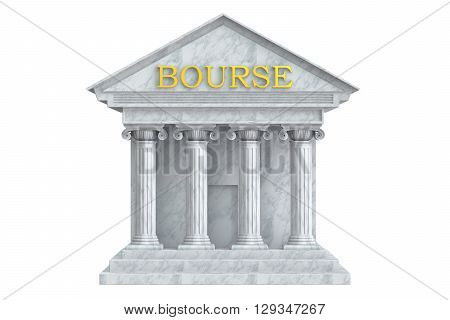 Bourse building with columns 3D rendering isolated on white background