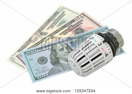 Energy saving concept with radiator thermostatic valve and money 3D rendering