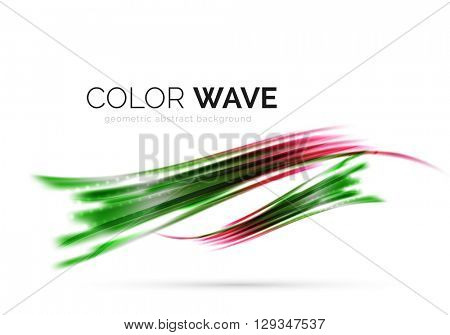 Glossy wave isolated on white background. Vector modern futuristic curve lines, coporate identity design