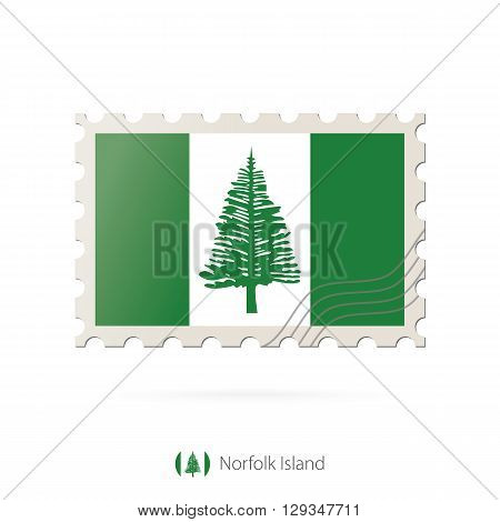 Postage Stamp With The Image Of Norfolk Island Flag.