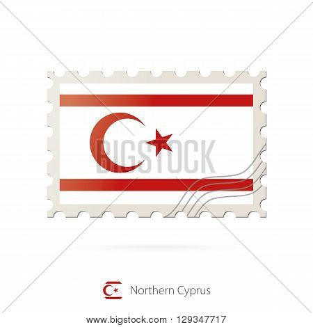 Postage Stamp With The Image Of Northern Cyprus Flag.