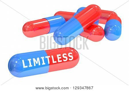 Limitless pills concept 3D rendering isolated on white background