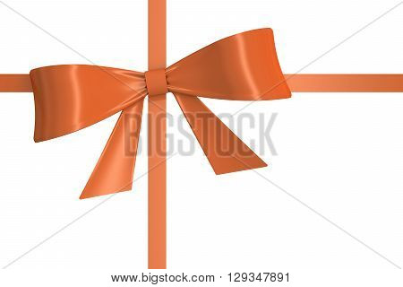 orange bow and ribbon 3D rendering isolated on white background