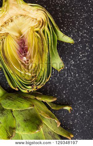Fresh Artichoke Cut In Two Macro Shot