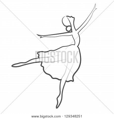 Vector illustrations of ballet icon isolated on white background. Ballet women icon. Ballet stylized symbol. Dance icon. Ballerina in dance silhouettes