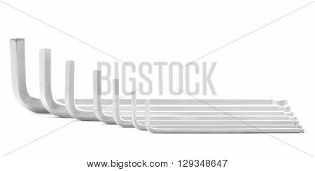 Allen wrench iron tool for fix isolated on white background