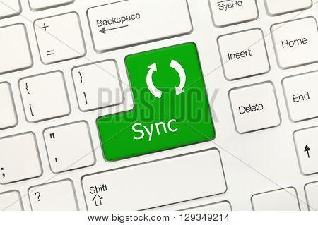 White Conceptual Keyboard - Sync (green Key)