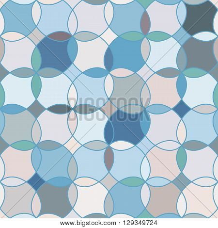 Seamless pattern with stained glass ornament in light blue colors. Colorful kaleidoscope background. Vector illustration