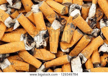 close up of many cigarette butts, abuse concept