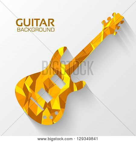 Polygonal Electro Guitar Vector Background Concept. Illustration