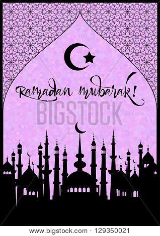 Card with mosques city for wishes with beginning of fasting month of Ramadan as well with Islamic holiday Eid al-Fitr and Eid al-Adha. Stained glass oriental background. Vector illustration