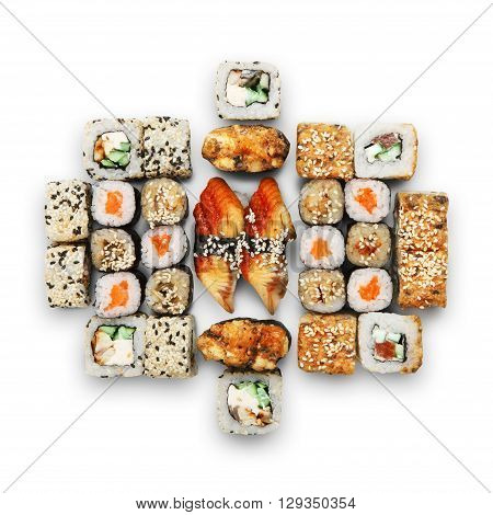 Japanese food restaurant, sushi maki unagi gunkan roll plate or platter set. California Sushi rolls with eel and salmon. Sushi isolated at white background. Top view, flat lay.