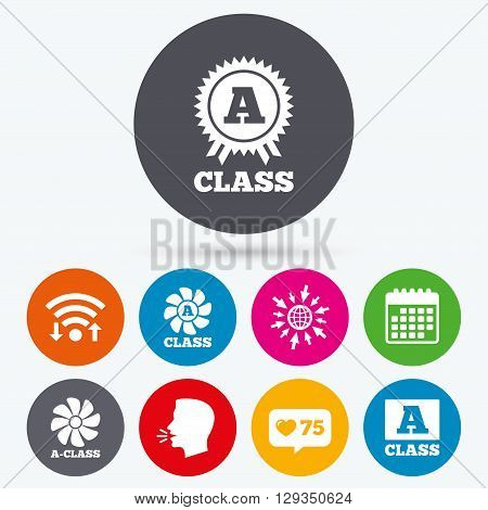 Wifi, like counter and calendar icons. A-class award icon. A-class ventilation sign. Premium level symbols. Human talk, go to web.