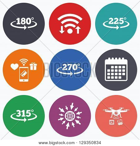 Wifi, mobile payments and drones icons. Angle 180-315 degrees icons. Geometry math signs symbols. Full complete rotation arrow. Calendar symbol.