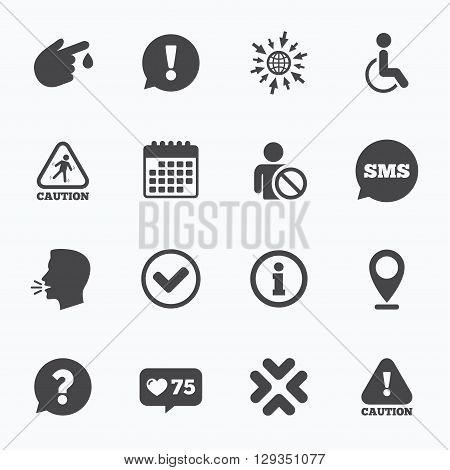 Calendar, go to web and like counter. Caution and attention icons. Question mark and information signs. Injury and disabled person symbols. Sms speech bubble, talk symbols.